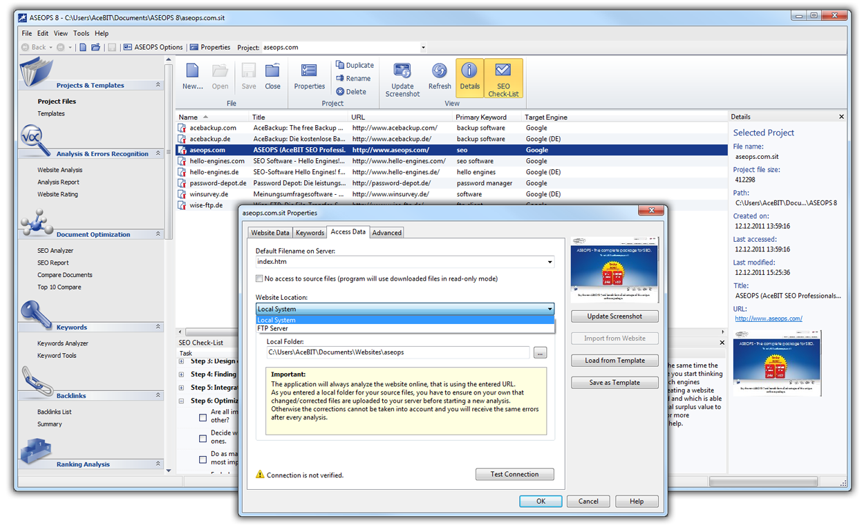 Click to view ASEOPS (formely Hello Engines PRO) 8.1.4 screenshot